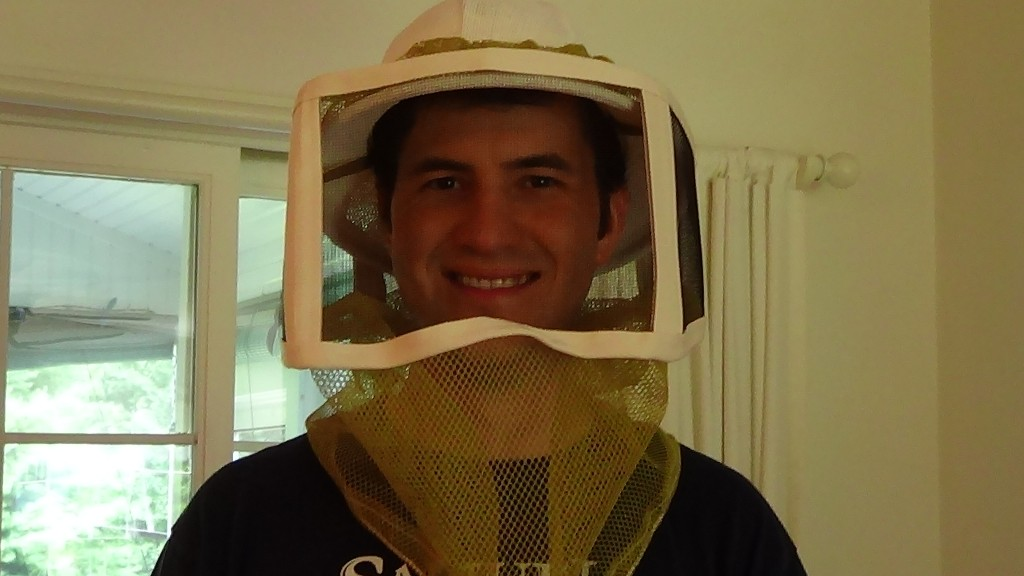 Here is my husband with his new veil from NEBees! No more bees flying in HIS face.