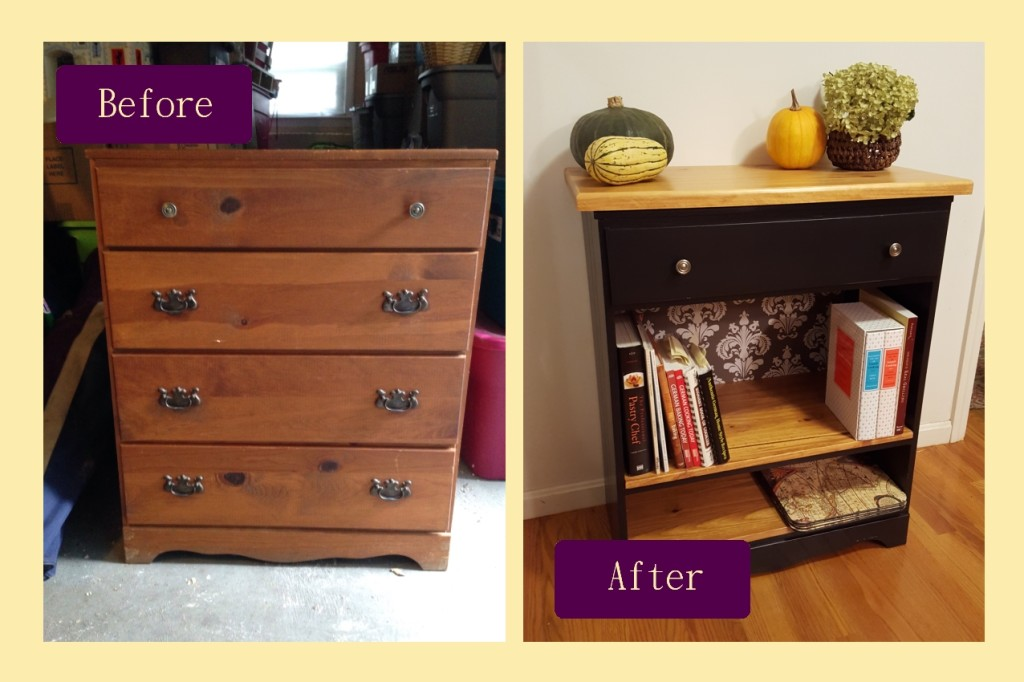 Before and after - kitchen bookshelf