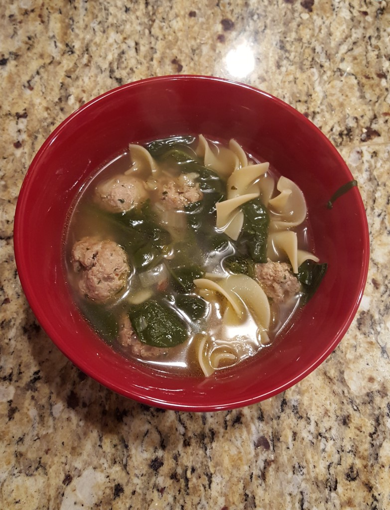 Finished turkey meatball soup - quite hearty!