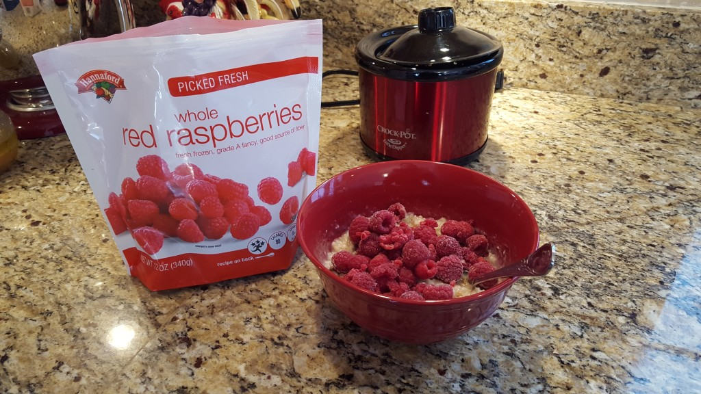 Add frozen raspberries to cool the oatmeal down.