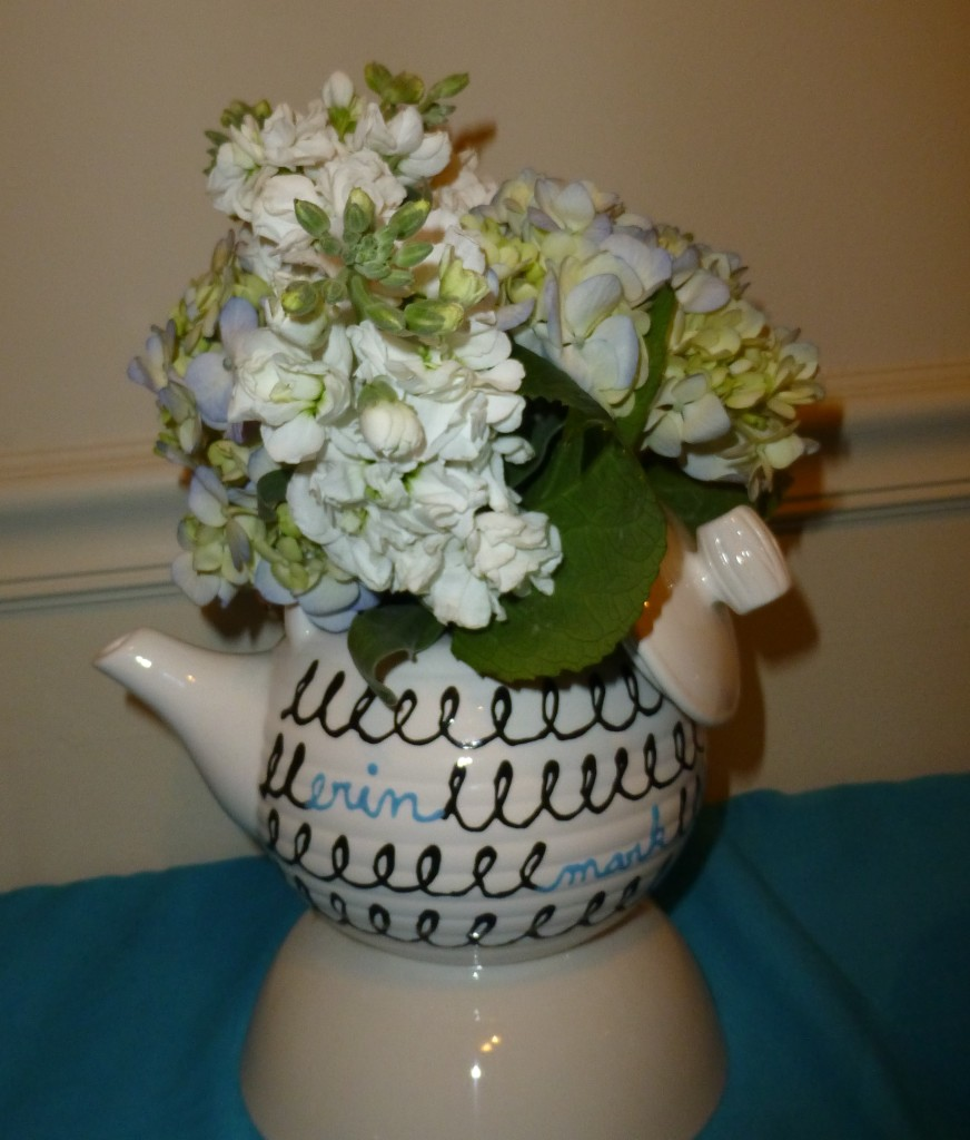 Another centerpiece with a teapot I painted at ceramics night.