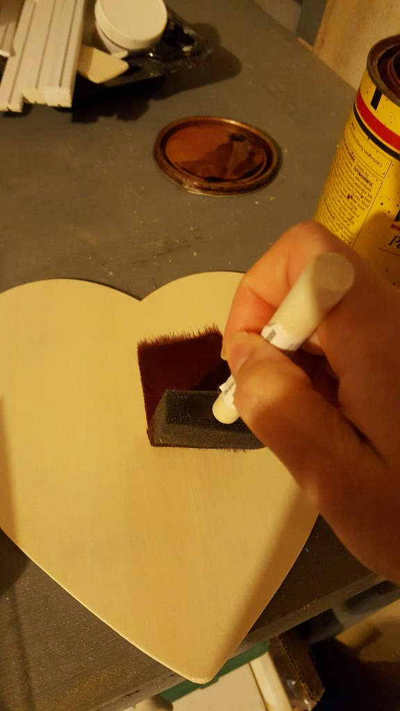 Stain wooden heart