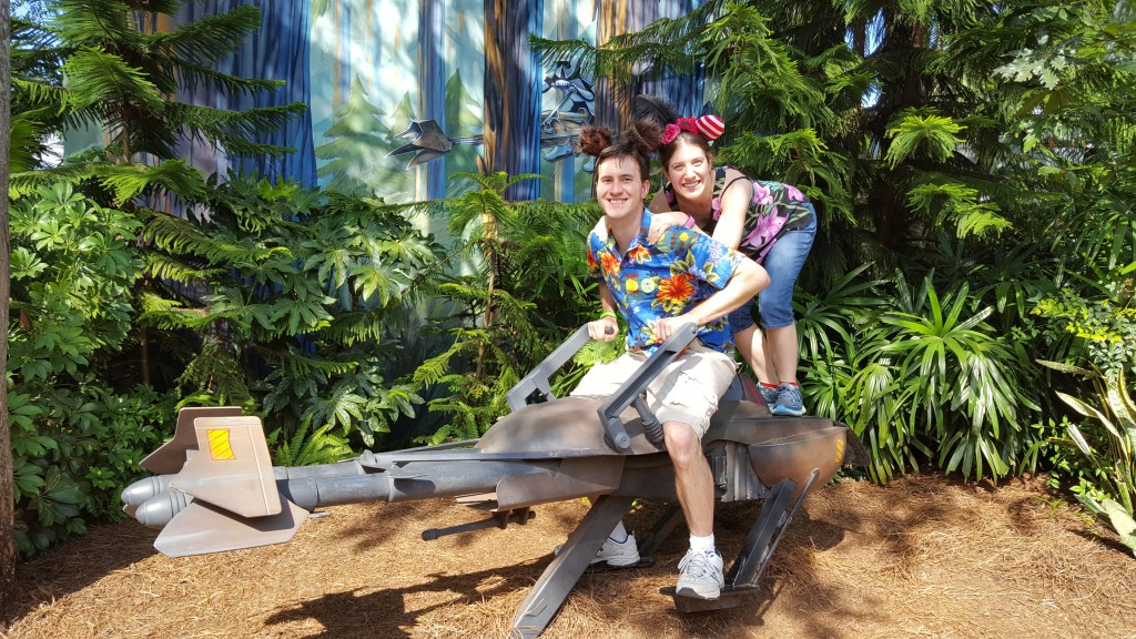 Will and I with our Mickey Mouse ears on a landspeeder