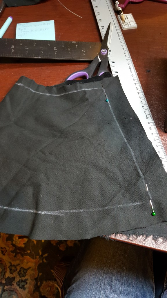 Pin right sides together and stitch fabric arch.