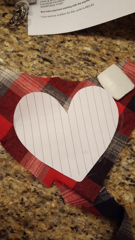 Trace heart pattern onto flannel.