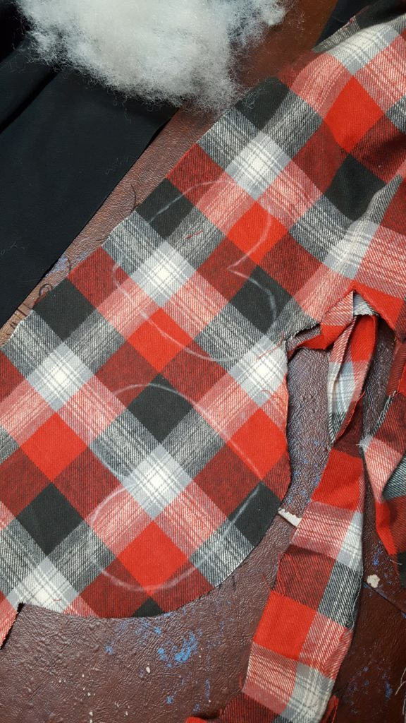 Trace two hearts on flannel on the bias.
