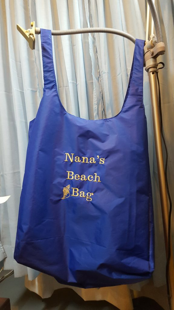 """My friend wanted the bag to say """"Nana's Beach Bag"""" on the front. HIs wife is now """"Nana"""" to his young grandson!"""