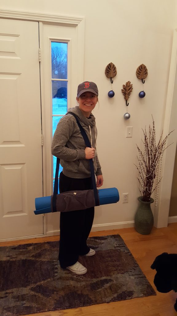 Mandy with her yoga mat carrier!